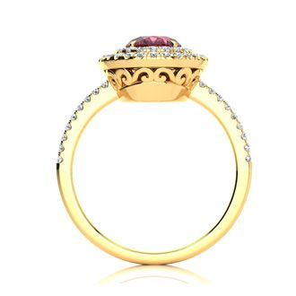 1 3/4 Carat Oval Shape Garnet and Double Halo Diamond Ring In 14 Karat Yellow Gold