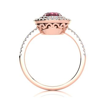 1 3/4 Carat Oval Shape Garnet and Double Halo Diamond Ring In 14 Karat Rose Gold