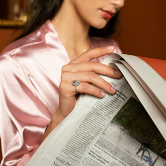 1 1/2 Carat Oval Shape Green Amethyst and Double Halo Diamond Ring In 14 Karat White Gold