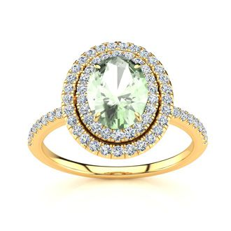 1 1/2 Carat Oval Shape Green Amethyst and Double Halo Diamond Ring In 14 Karat Yellow Gold