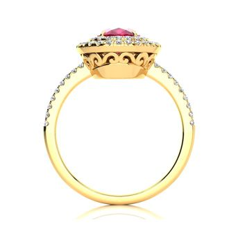 2 Carat Oval Shape Ruby and Double Halo Diamond Ring In 14 Karat Yellow Gold
