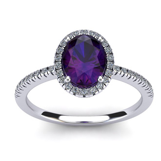 1 1/4 Carat Oval Shape Amethyst and Halo Diamond Ring In 14 Karat White Gold