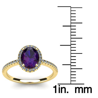 1 1/4 Carat Oval Shape Amethyst and Halo Diamond Ring In 14 Karat Yellow Gold