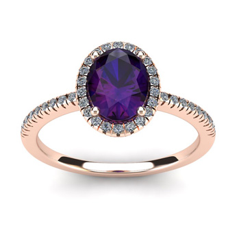 1 1/4 Carat Oval Shape Amethyst and Halo Diamond Ring In 14 Karat Rose Gold