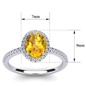1 1/4 Carat Oval Shape Citrine and Halo Diamond Ring In 14 Karat White Gold