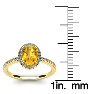 1 1/4 Carat Oval Shape Citrine and Halo Diamond Ring In 14 Karat Yellow Gold