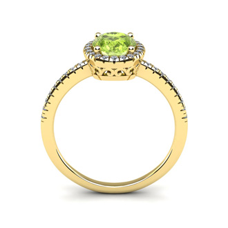 1 1/2 Carat Oval Shape Peridot and Halo Diamond Ring In 14 Karat Yellow Gold