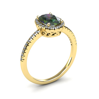 1 3/4 Carat Oval Shape Mystic Topaz and Halo Diamond Ring In 14 Karat Yellow Gold
