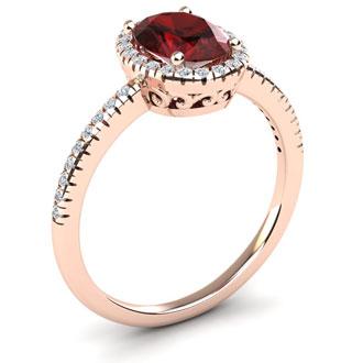 1 3/4 Carat Oval Shape Garnet and Halo Diamond Ring In 14 Karat Rose Gold