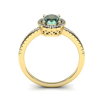 1 1/4 Carat Oval Shape Green Amethyst and Halo Diamond Ring In 14 Karat Yellow Gold