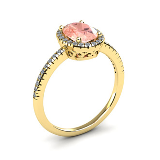 1 1/3 Carat Oval Shape Morganite and Halo Diamond Ring In 14 Karat Yellow Gold