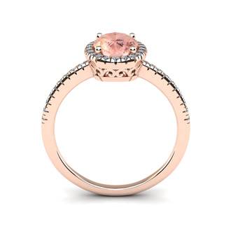 1 1/3 Carat Oval Shape Morganite and Halo Diamond Ring In 14 Karat Rose Gold