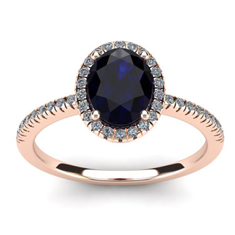 1 3/4 Carat Oval Shape Sapphire and Halo Diamond Ring In 14 Karat Rose Gold