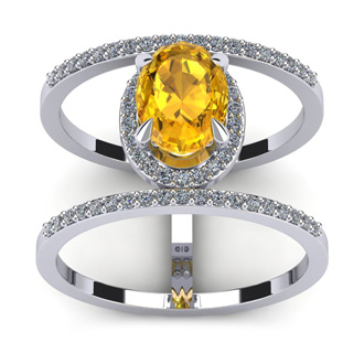 1 1/3 Carat Oval Shape Citrine and Halo Diamond Spacer Ring In 14 Karat White Gold