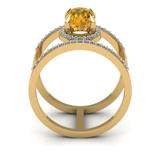 1 1/3 Carat Oval Shape Citrine and Halo Diamond Spacer Ring In 14 Karat Yellow Gold