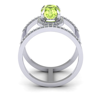 1 1/2 Carat Oval Shape Peridot and Halo Diamond Spacer Ring In 14 Karat White Gold