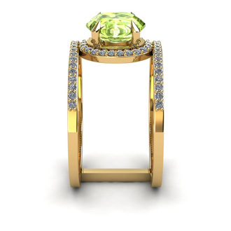 1 1/2 Carat Oval Shape Peridot and Halo Diamond Spacer Ring In 14 Karat Yellow Gold