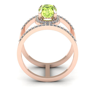 1 1/2 Carat Oval Shape Peridot and Halo Diamond Spacer Ring In 14 Karat Rose Gold