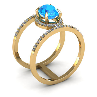 1 3/4 Carat Oval Shape Blue Topaz and Halo Diamond Spacer Ring In 14 Karat Yellow Gold