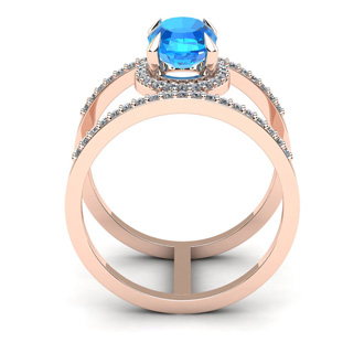 1 3/4 Carat Oval Shape Blue Topaz and Halo Diamond Spacer Ring In 14 Karat Rose Gold