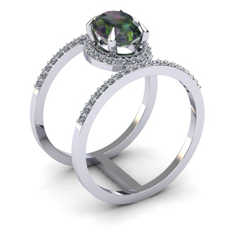 1 3/4 Carat Oval Shape Mystic Topaz and Halo Diamond Spacer Ring In 14 Karat White Gold