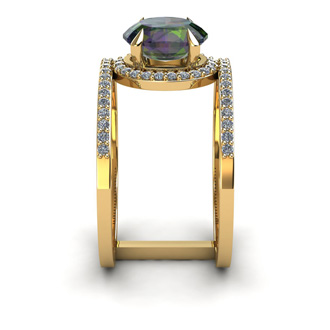 1 3/4 Carat Oval Shape Mystic Topaz and Halo Diamond Spacer Ring In 14 Karat Yellow Gold