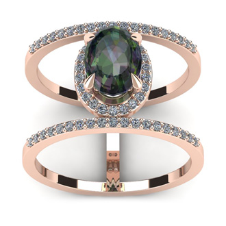 1 3/4 Carat Oval Shape Mystic Topaz and Halo Diamond Spacer Ring In 14 Karat Rose Gold
