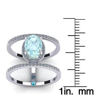 1 1/2 Carat Oval Shape Aquamarine and Halo Diamond Spacer Ring In 14 Karat White Gold