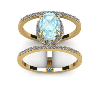 1 1/2 Carat Oval Shape Aquamarine and Halo Diamond Spacer Ring In 14 Karat Yellow Gold