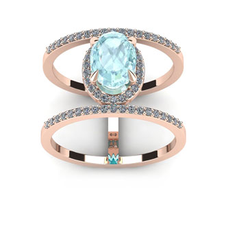 1 1/2 Carat Oval Shape Aquamarine and Halo Diamond Spacer Ring In 14 Karat Rose Gold
