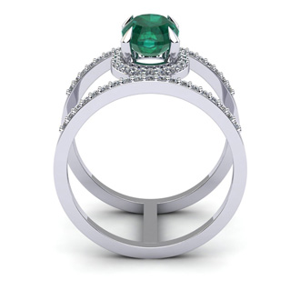 1 1/2 Carat Oval Shape Emerald and Halo Diamond Spacer Ring In 14 Karat White Gold