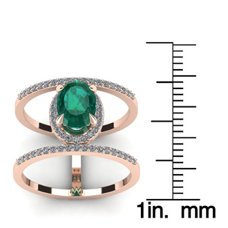 1 1/2 Carat Oval Shape Emerald and Halo Diamond Spacer Ring In 14 Karat Rose Gold