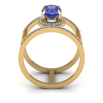1 1/2 Carat Oval Shape Tanzanite and Halo Diamond Spacer Ring In 14 Karat Yellow Gold