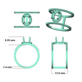 1 1/2 Carat Oval Shape Tanzanite and Halo Diamond Spacer Ring In 14 Karat Rose Gold