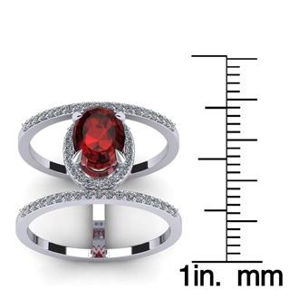 1 3/4 Carat Oval Shape Garnet and Halo Diamond Spacer Ring In 14 Karat White Gold