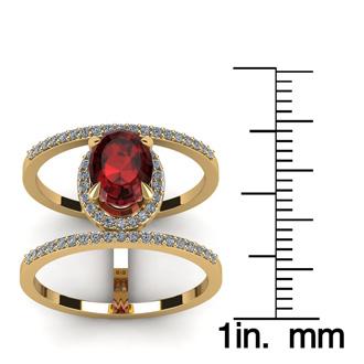 1 3/4 Carat Oval Shape Garnet and Halo Diamond Spacer Ring In 14 Karat Yellow Gold