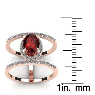 1 3/4 Carat Oval Shape Garnet and Halo Diamond Spacer Ring In 14 Karat Rose Gold