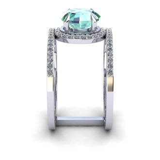 1 1/3 Carat Oval Shape Green Amethyst and Halo Diamond Spacer Ring In 14 Karat White Gold