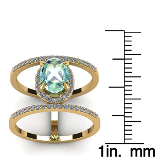 1 1/3 Carat Oval Shape Green Amethyst and Halo Diamond Spacer Ring In 14 Karat Yellow Gold