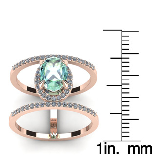 1 1/3 Carat Oval Shape Green Amethyst and Halo Diamond Spacer Ring In 14 Karat Rose Gold