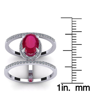 1 3/4 Carat Oval Shape Ruby and Halo Diamond Spacer Ring In 14 Karat White Gold