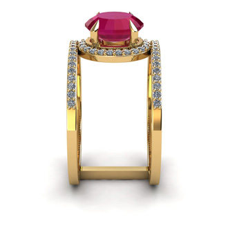1 3/4 Carat Oval Shape Ruby and Halo Diamond Spacer Ring In 14 Karat Yellow Gold