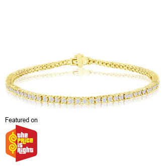 2 Carat Genuine Diamond Tennis Bracelet In 14 Karat Yellow Gold