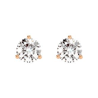 2 Carat Diamond Martini Stud Earrings In 14 Karat Rose Gold