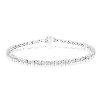 8 INCH. 2.30ct Diamond Tennis Bracelet in 14k White Gold