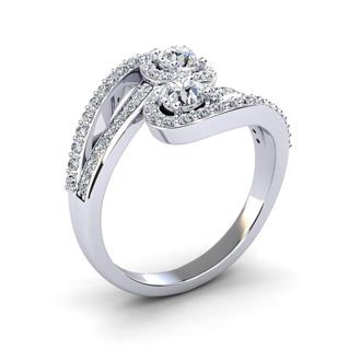 0.90 Carat Two Stone Diamond Swirl Halo Ring In 14K White Gold