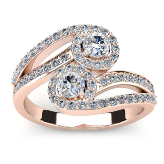 0.90 Carat Two Stone Diamond Swirl Halo Ring In 14K Rose Gold