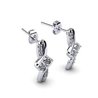 1/4 Carat Two Stone Diamond Knot Earrings In 14K White Gold