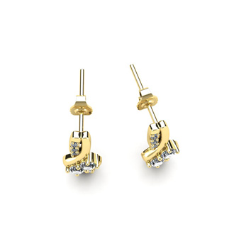 1/4 Carat Two Stone Diamond Knot Earrings In 14K Yellow Gold