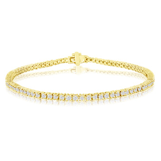 8 INCH, 2.30ct Diamond Tennis Bracelet in 14k Yellow Gold